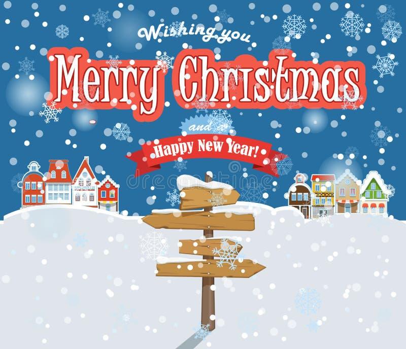Feliz Navidad y Feliz Año Nuevo stock de ilustración