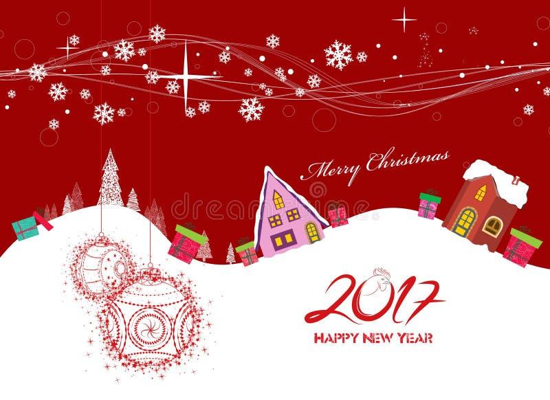 Feliz Navidad y Feliz Año Nuevo 2017 ilustración del vector