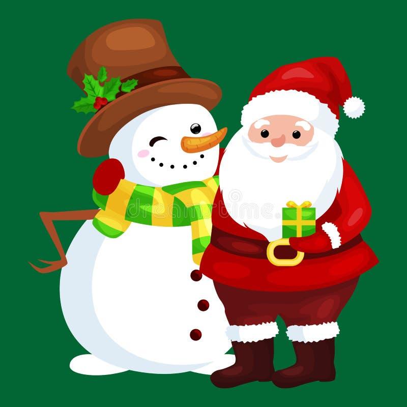 ¡Feliz Navidad y Feliz Año Nuevo! Amigos Santa Claus en sombrero y muñeco de nieve ilustración del vector