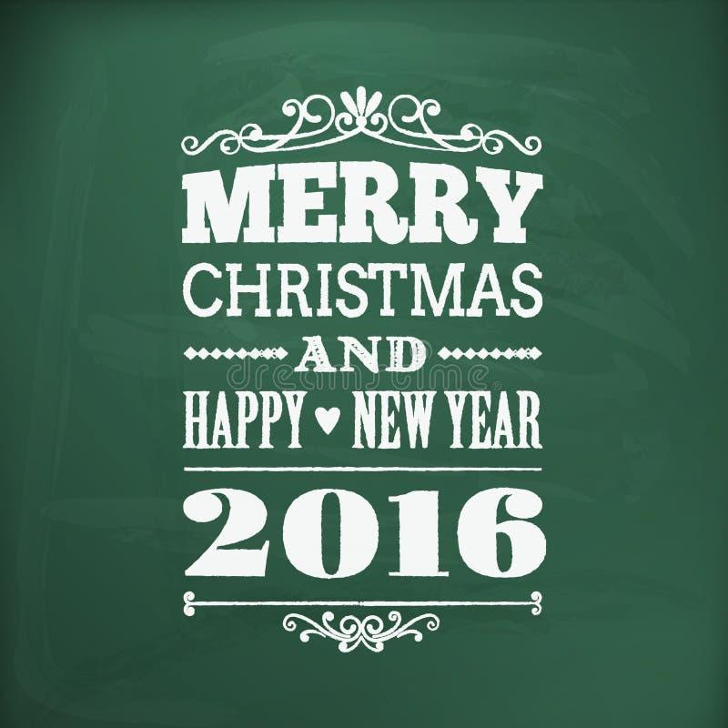 Feliz Navidad y Feliz Año Nuevo 2016chlakboard stock de ilustración