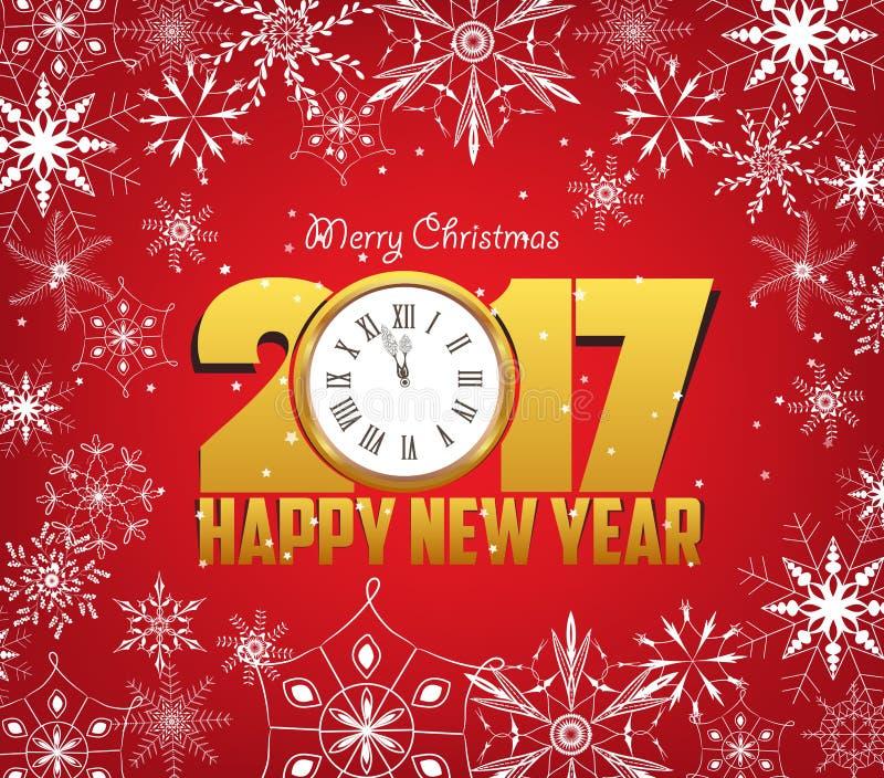 Feliz Navidad y Feliz Año Nuevo 2017 con los copos de nieve libre illustration