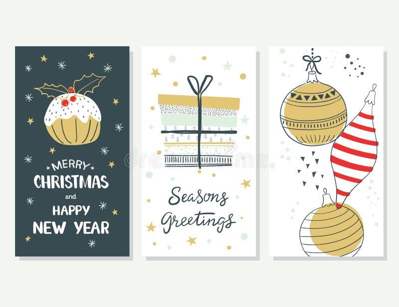 Feliz Navidad y Feliz Año Nuevo Conjunto de tarjetas de Navidad stock de ilustración