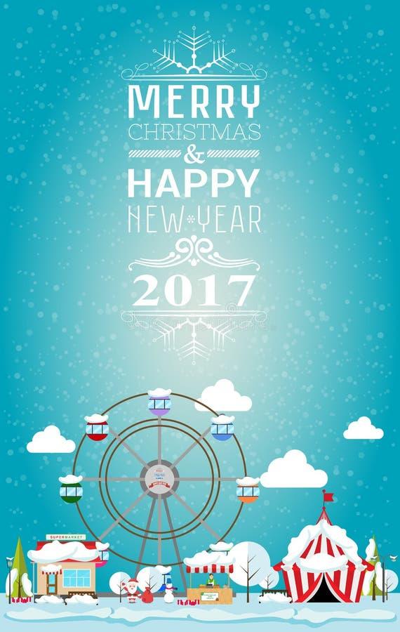 Feliz Navidad y Feliz Año Nuevo 2017 de la tarjeta de la invitación en feria ilustración del vector