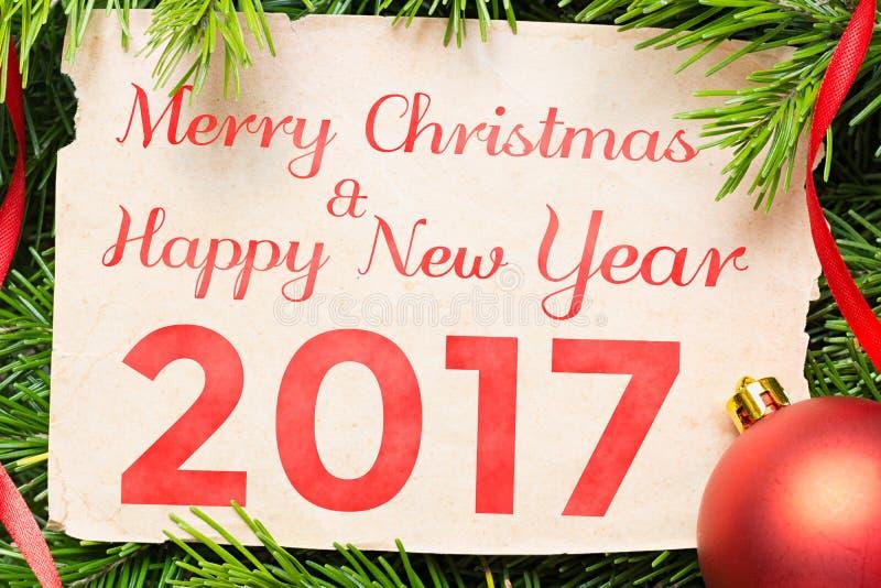 Feliz Navidad y Feliz Año Nuevo 2017 Decoración de la Navidad imágenes de archivo libres de regalías