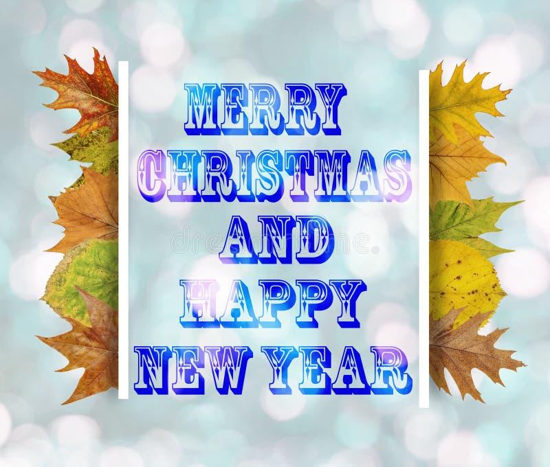Feliz Navidad y Feliz Año Nuevo en fondo azul del bokeh fotos de archivo