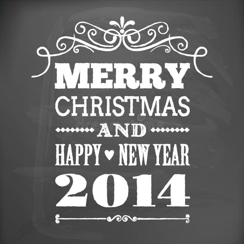 Feliz Navidad y Feliz Año Nuevo 2014 en tarjeta de la pizarra ilustración del vector