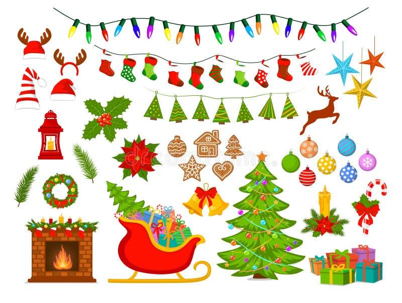 Feliz Navidad y Feliz Año Nuevo, estacionales, artículos de la decoración de Navidad del invierno fijados ilustración del vector