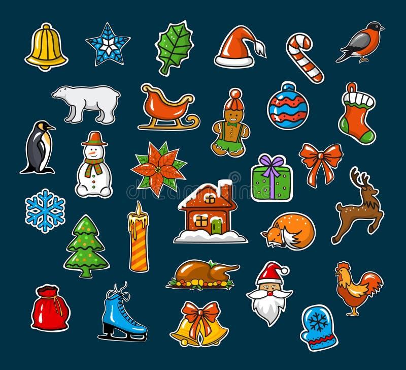 Feliz Navidad y Feliz Año Nuevo, estacionales, etiquetas engomadas de la decoración de Navidad del invierno fijadas ilustración del vector