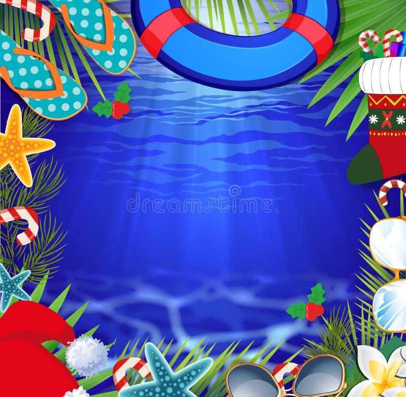 Feliz Navidad y frontera de la Feliz Año Nuevo en un clima caliente libre illustration