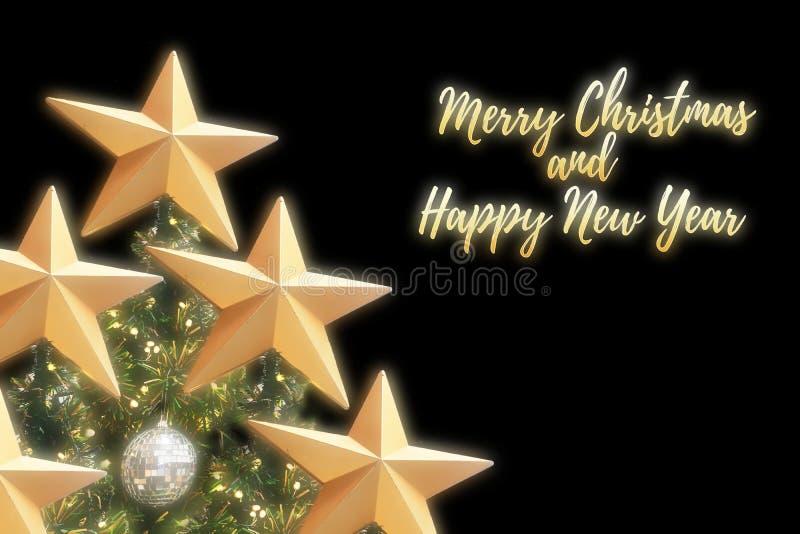 Feliz Navidad y fuentes de oro de la Feliz Año Nuevo imagen de archivo