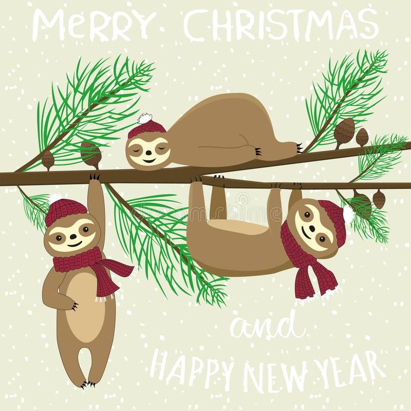 Feliz Navidad y lema de la Feliz Año Nuevo libre illustration