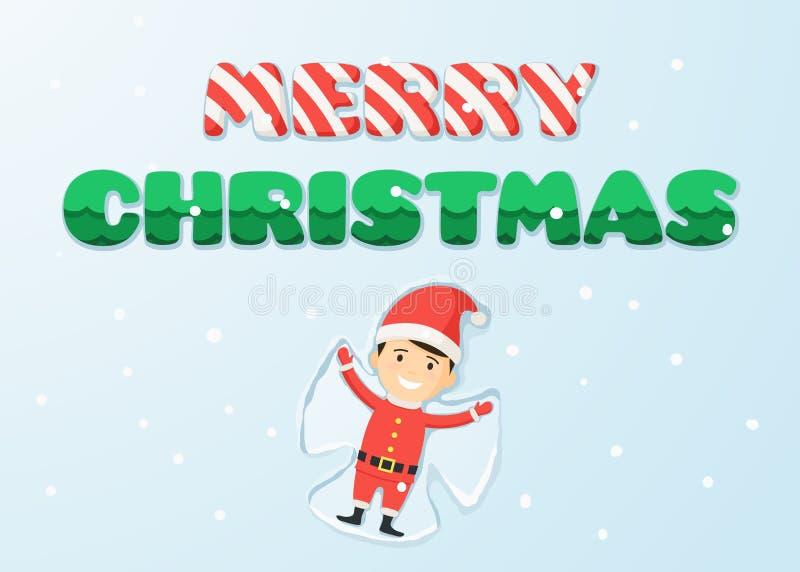 Feliz Navidad y muchacho en el traje de Papá Noel libre illustration