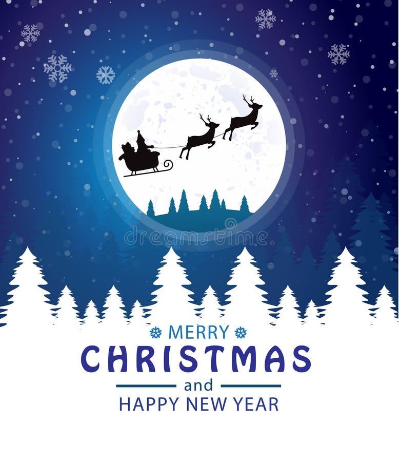 Feliz Navidad y Feliz A?o Nuevo Santa Claus en la luna Fondo para una tarjeta de la invitaci?n o una enhorabuena ilustración del vector