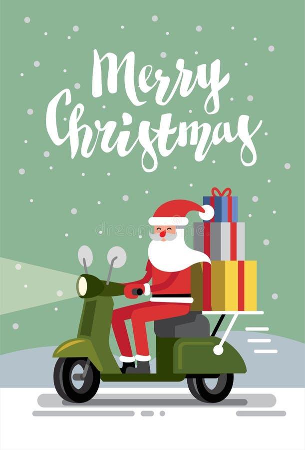 Feliz Navidad y Papá Noel ilustración del vector