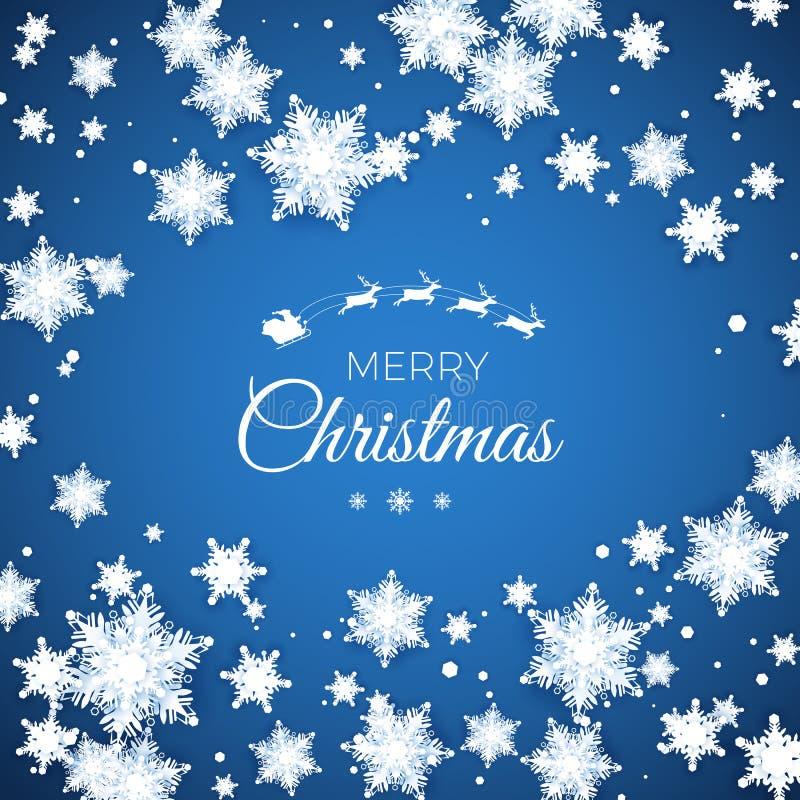 Feliz Navidad y feliz postal de Año Nuevo. Fondo del patrón de Snowflakes de papel. Nieve de origami. Vector stock de ilustración