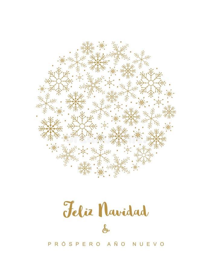 Feliz navidad y prospero ano nuevo -圣诞快乐和新年好 西班牙圣诞节传染媒介卡片 库存例证