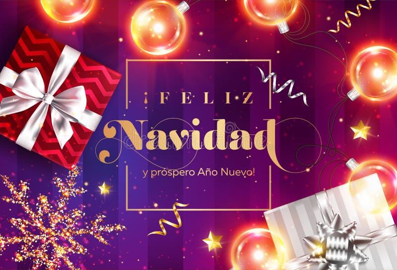 Feliz navidad y prospero ano nuevo 圣诞快乐和新年快乐用西班牙语 看板卡圣诞节招呼的新的模板向量年 皇族释放例证