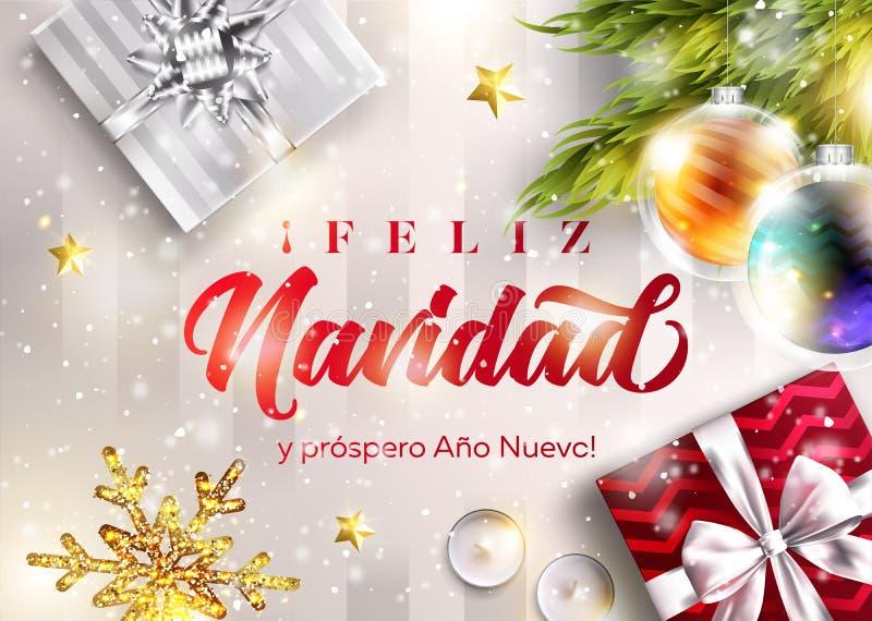 Feliz navidad y prospero ano nuevo wesołych Świąt ilustracja wektor