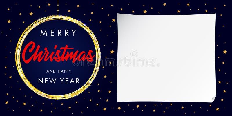 Feliz Navidad y tarjeta de felicitación caligráfica de la Feliz Año Nuevo ilustración del vector