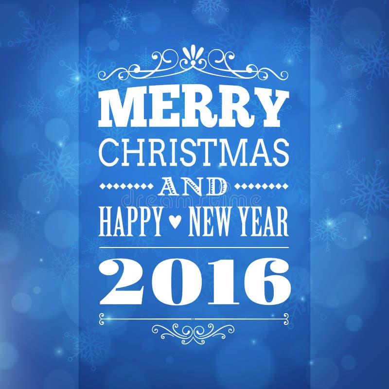 Feliz Navidad y tarjeta 2016 de felicitación de la Feliz Año Nuevo stock de ilustración