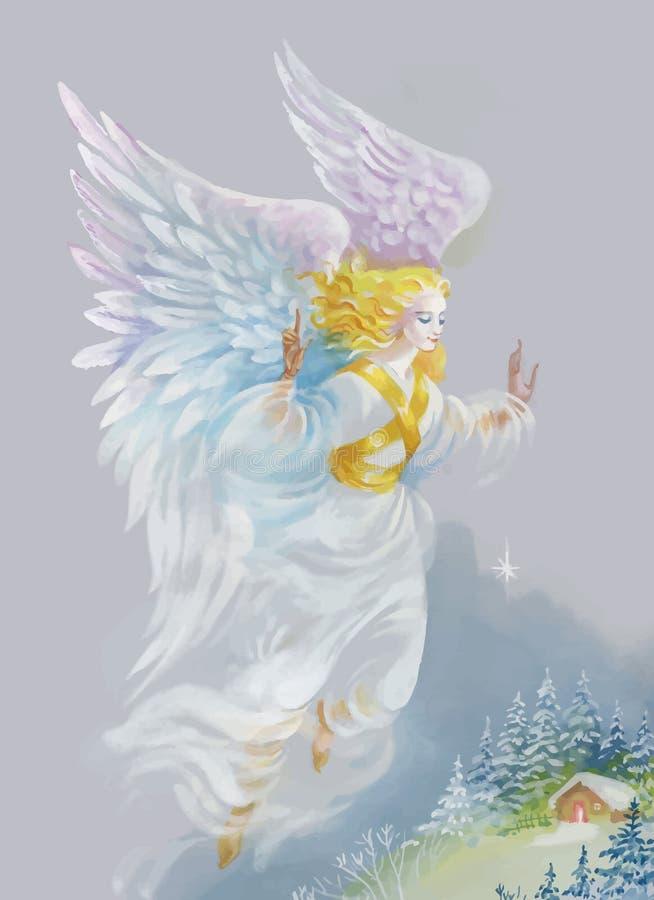 Feliz Navidad y tarjeta de felicitación del Año Nuevo con el ángel hermoso con las alas, ejemplo de la acuarela stock de ilustración