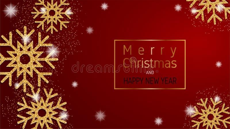 Feliz Navidad y tarjeta de felicitación de la Feliz Año Nuevo, bandera, haciendo publicidad del fondo en el estilo cortado de pap libre illustration
