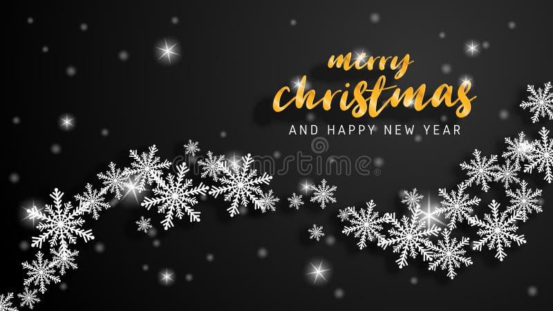 Feliz Navidad y tarjeta de felicitación de la Feliz Año Nuevo en el estilo cortado de papel Celebración de la Navidad del ejemplo libre illustration