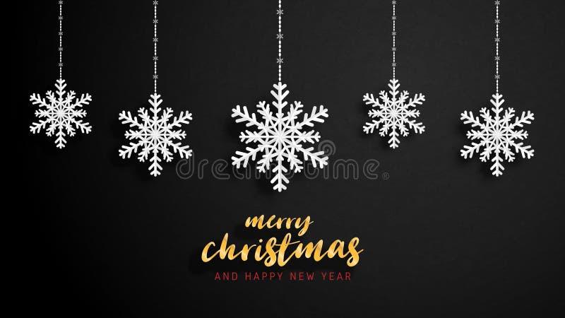 Feliz Navidad y tarjeta de felicitación de la Feliz Año Nuevo en el estilo cortado de papel Celebración de la Navidad del ejemplo stock de ilustración