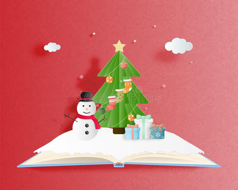Feliz Navidad y tarjeta de felicitación de la Feliz Año Nuevo en el estilo cortado de papel Fondo de la celebración de la Navidad stock de ilustración