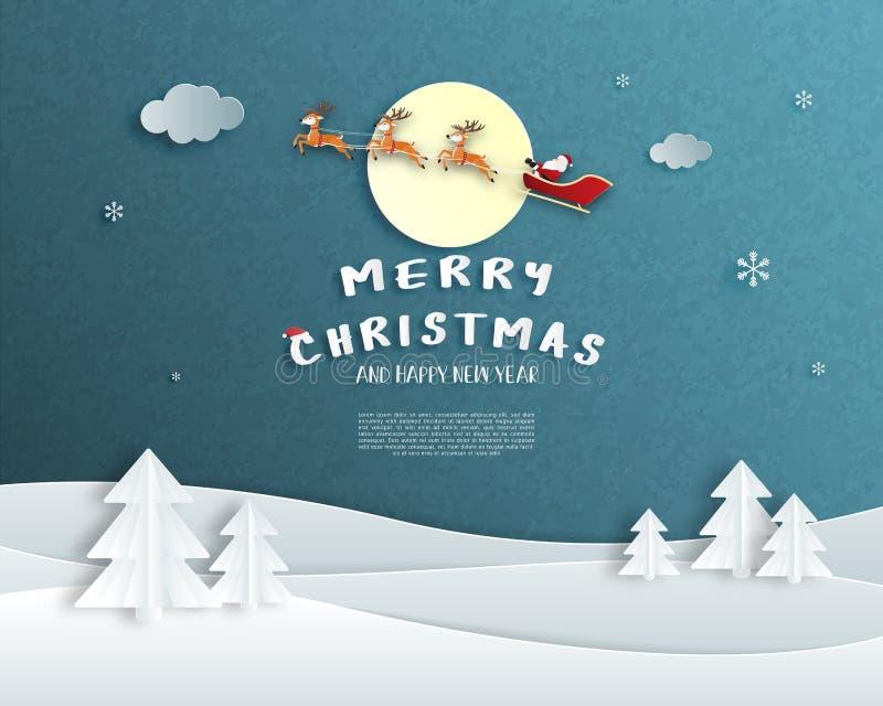 Feliz Navidad y tarjeta de felicitación de la Feliz Año Nuevo en el estilo cortado de papel Fondo de la celebración de la Navidad libre illustration