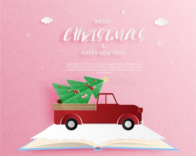Feliz Navidad y tarjeta de felicitación de la Feliz Año Nuevo en el estilo cortado de papel Fondo de la celebración de la Navidad ilustración del vector