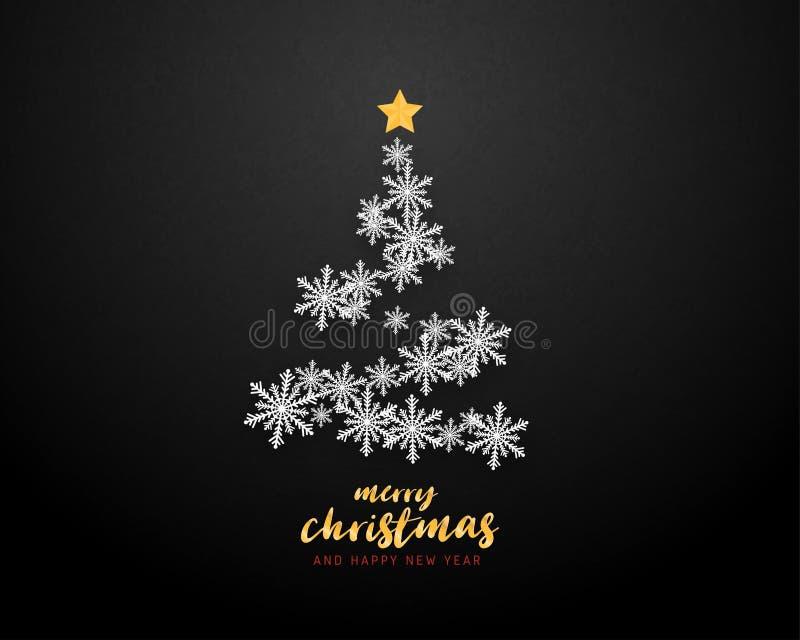 Feliz Navidad y tarjeta de felicitación de la Feliz Año Nuevo en el fondo cortado de papel del estilo Celebración de la Navidad d libre illustration