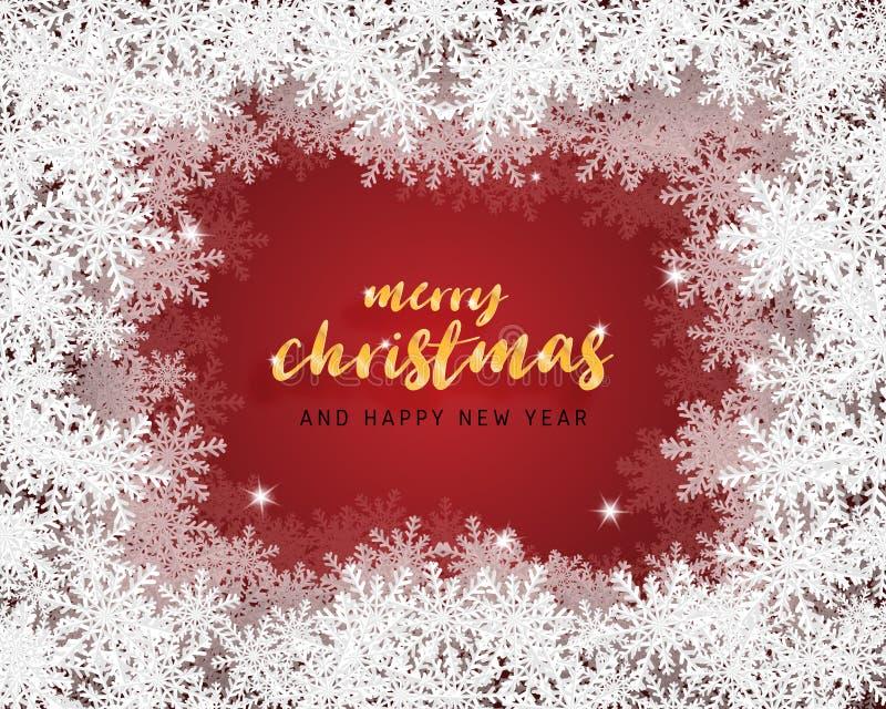 Feliz Navidad y tarjeta de felicitación de la Feliz Año Nuevo en el fondo cortado de papel del estilo Celebración de la Navidad d ilustración del vector