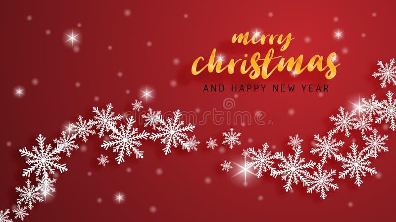 Feliz Navidad y tarjeta de felicitación de la Feliz Año Nuevo en el fondo cortado de papel del estilo Celebración de la Navidad d stock de ilustración