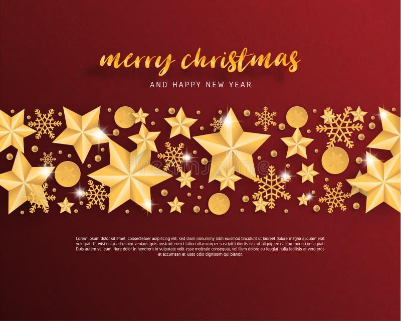 Feliz Navidad y tarjeta de felicitación de la Feliz Año Nuevo en el fondo cortado de papel del estilo Estrella de la celebración  stock de ilustración