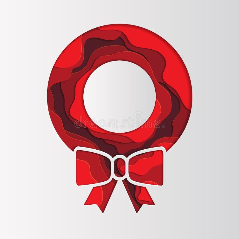 Feliz Navidad y tarjeta de felicitación de la estación del invierno rojo abstracto 3D ilustración del vector