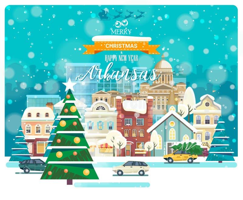 Feliz Navidad y una Feliz Año Nuevo en Arkansas Saludo de la tarjeta festiva de los E.E.U.U. Ciudad que nieva del invierno con la stock de ilustración