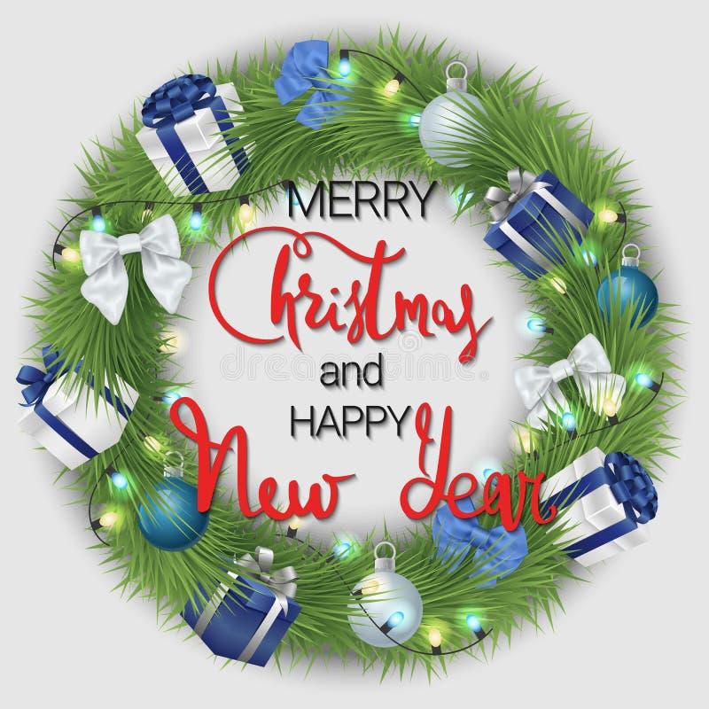 Feliz Navidad y una Feliz Año Nuevo Una guirnalda festiva hecha de ramas y de decoraciones coníferas de la Navidad stock de ilustración