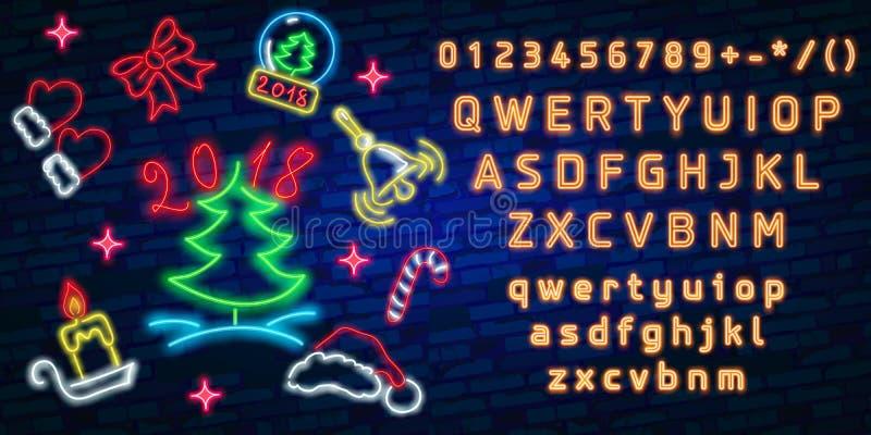 Feliz Navidad y una Feliz Año Nuevo Tarjeta de felicitación o modelo de la invitación en el estilo de neón Letrero luminoso de ne libre illustration