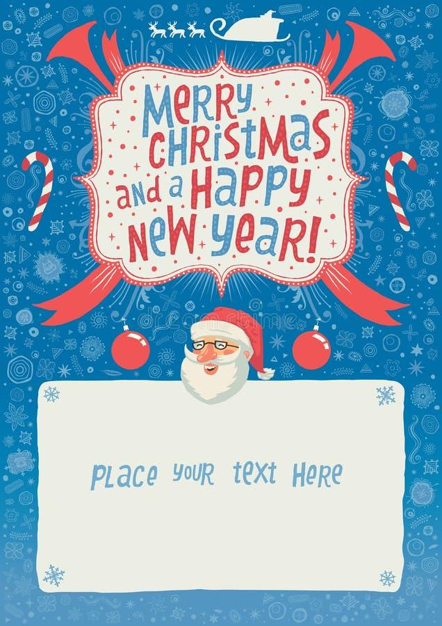 Feliz Navidad y una tarjeta, un cartel o un fondo de felicitación de la Feliz Año Nuevo para la invitación del partido con tipogr stock de ilustración