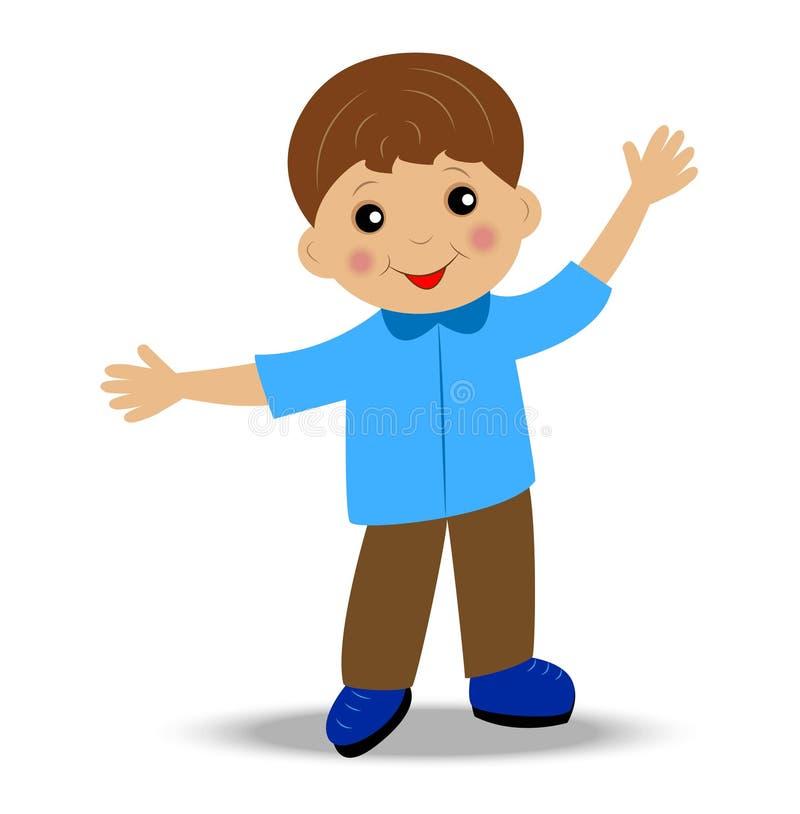 Feliz niño pequeño en el fondo blanco libre illustration