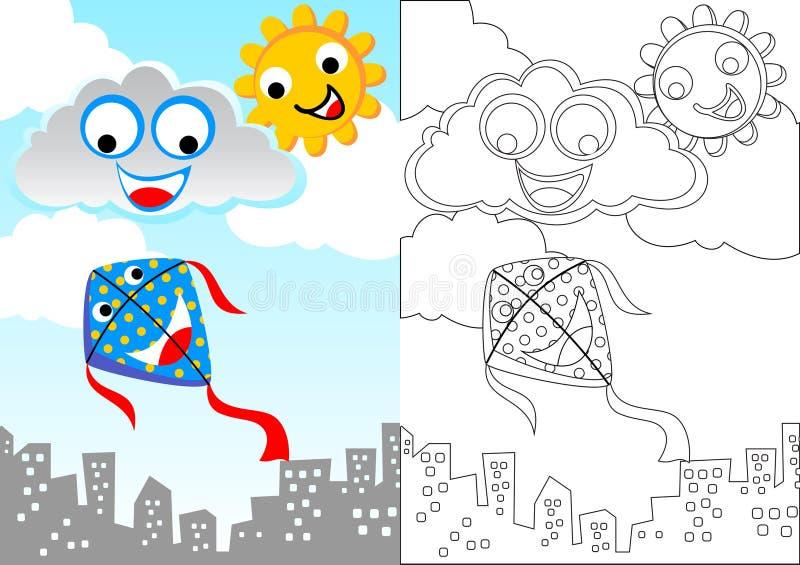 Feliz no céu azul com papagaio, sol e nuvens ilustração stock