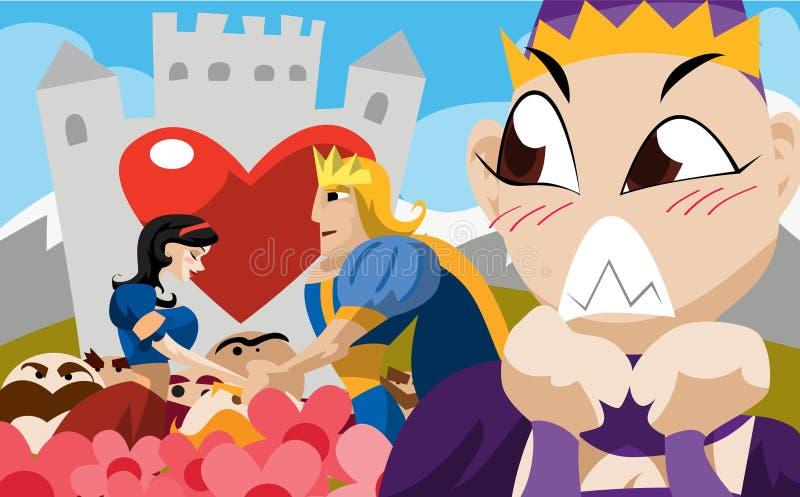 Feliz Nunca Após da neve branca e do príncipe Vida ilustração royalty free