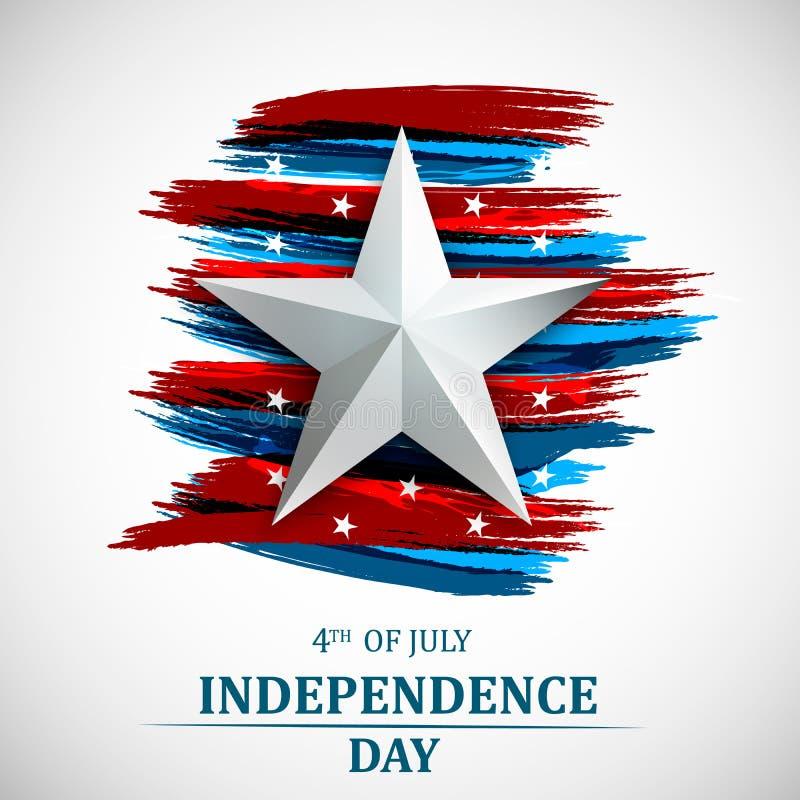 Feliz 4o julho, Dia da Independência dos EUA Quarto do molde do cartão de julho com a bandeira nacional americana Vetor ilustração do vetor