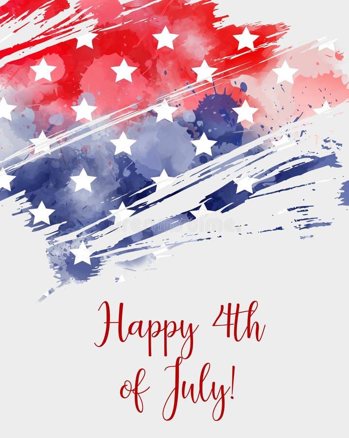 Feliz 4o julho! Fundo abstrato da bandeira dos EUA ilustração royalty free