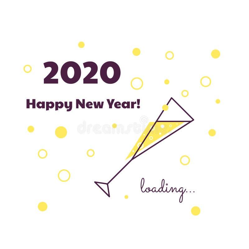 Feliz A?o Nuevo Cargamento 2020 Pantalla de la transferencia directa Barra de progreso Vidrio de champ?n libre illustration