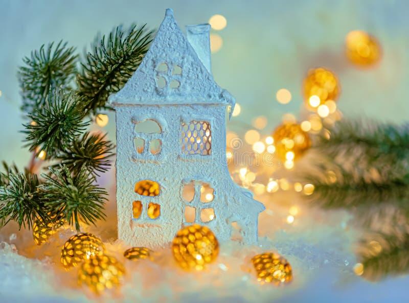 Feliz A?o Nuevo de la tarjeta de felicitaci?n y Feliz Navidad Fondo hermoso de la decoración del invierno para el día de fiesta C foto de archivo