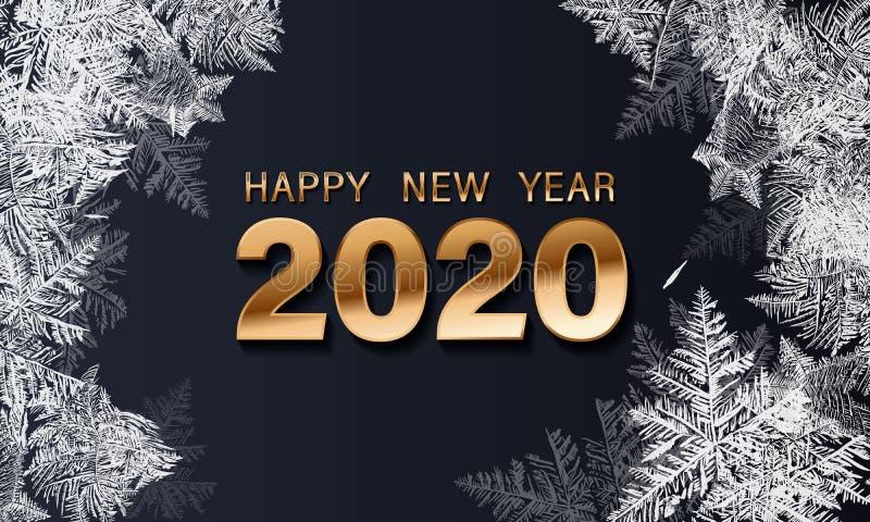 Feliz A?o Nuevo del texto 2020 de lujo de oro del vector Dise?o festivo de los n?meros del oro, textura de los diamantes Confeti  stock de ilustración