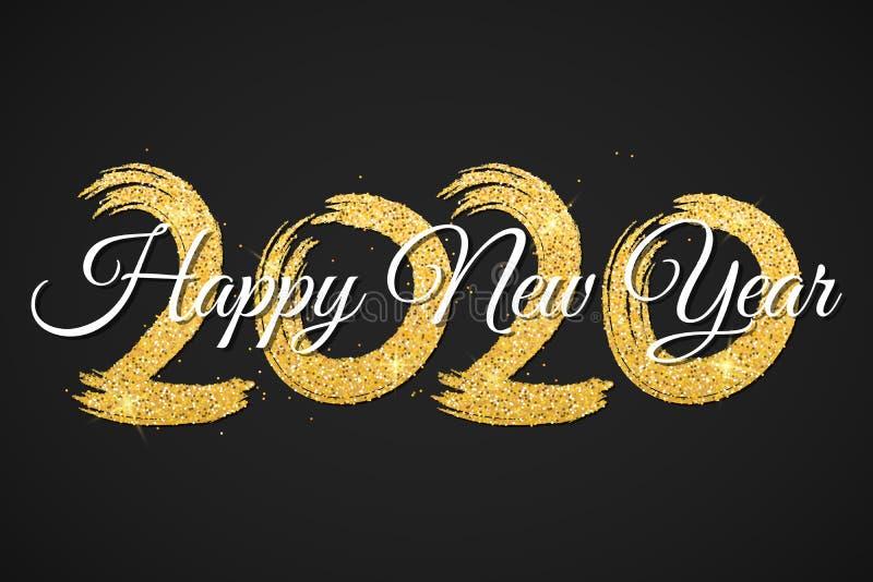 Feliz A?o Nuevo 2020 Números de brillos de oro con caligrafía en un fondo negro Cepillo de Grunge Confeti de oro Vector fotos de archivo libres de regalías