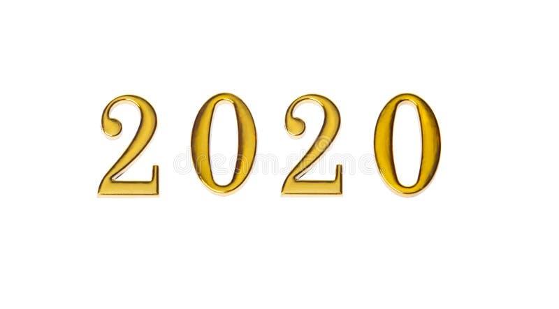 Feliz A?o Nuevo 2020 Símbolo de oro del número 2020 aislado en el fondo blanco imágenes de archivo libres de regalías